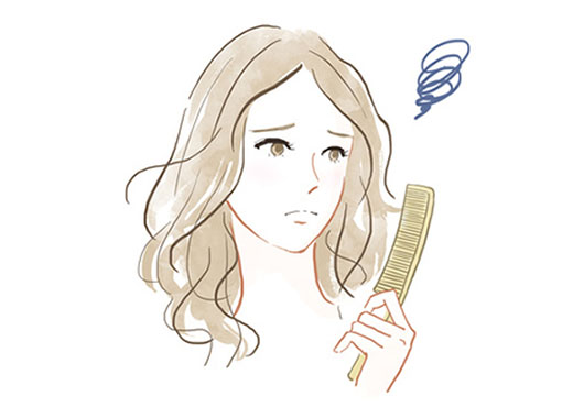 髪のトラブルを抱えた施術前の不安顔の女性のイメージイラスト